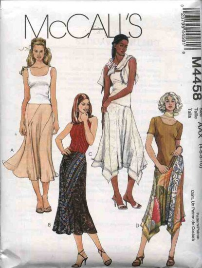 McCall's Sewing Pattern 4458 Misses Size 4-10 Color Blocked Seam Details Asymmetrical Hem Skirts