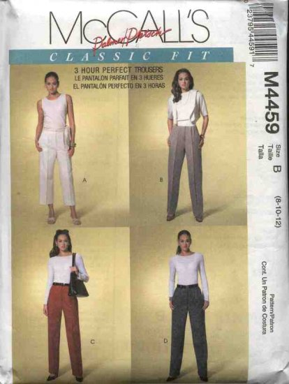 McCall's Sewing Pattern 4459 Misses Size 12-16 Palmer/Pletsch Classic Fit Pants Trousers Slacks