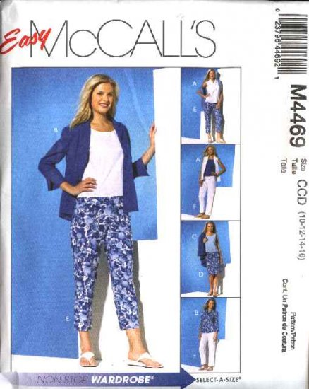 McCall's Sewing Pattern 4469 Misses Size 8-14 Easy Wardrobe Shirts Top Skirt Cropped Capri Pants