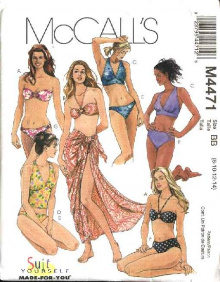 McCall's Sewing Pattern 4471 Misses Size 6-12 Two-Piece Bathing Swimming Suits Pareo Sarong