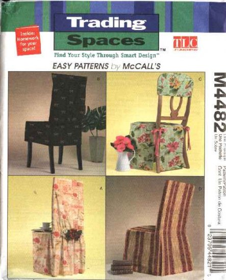 McCall's Sewing Pattern 4482 Trading Spaces' Straight Back Seat Chair Covers
