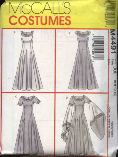 McCall�s Costume Sewing Pattern 4491 Misses Size 6-12 Long Formal Prom Wedding Gown Costume
