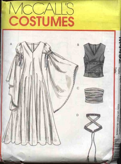 McCall�s Sewing Pattern 4492 Misses Size 6-12 Renaissance Long Dress Vest Girdle Belt Costume
