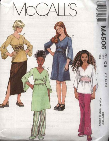 McCall�s Sewing Pattern 4506 Girls Size 7-12 Wardrobe Long Sleeve Top Tunic Dress Skirt Pants
