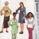 McCall's Sewing Pattern 4506 Girls Size 7-12 Wardrobe Long Sleeve Top Tunic Dress Skirt Pants