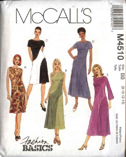 McCall's Sewing Pattern 4510 Misses Size 8-14 Fashion Basic Bias Dresses Color Blocked
