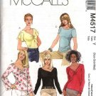 McCall's Sewing Pattern 4517 Misses Size 16-22 Pullover Knit Tops Neck Sleeve Variations