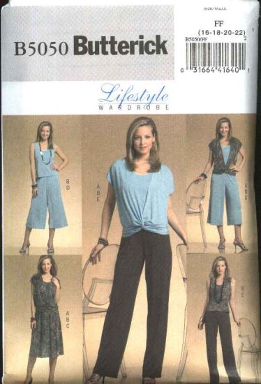 Butterick Sewing Pattern 5050 Misses Size 16-22 Easy Knit Wardrobe Vest Top Skirt Pants