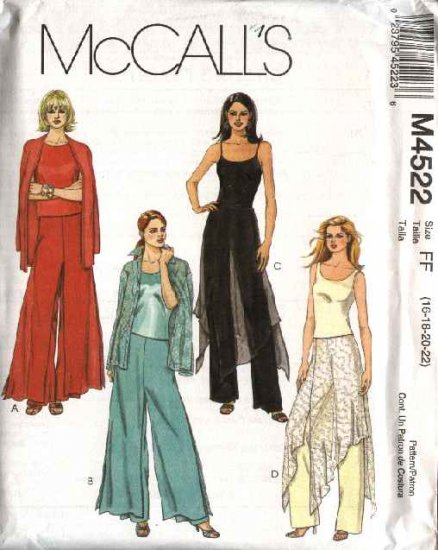 McCall's Sewing Pattern 4522 Misses Size 12-18 Fitted Long Pants With Overskirt Variations