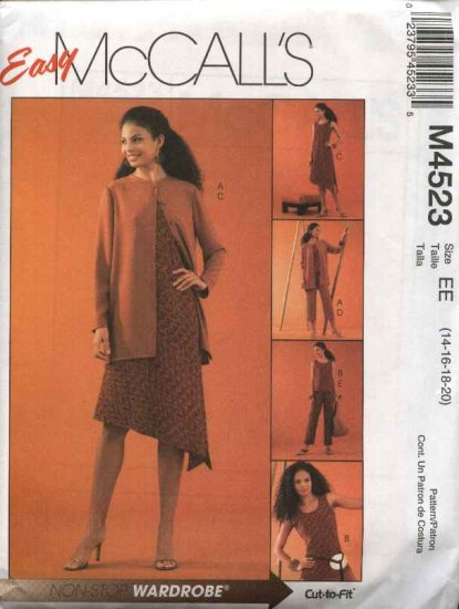McCall�s Sewing Pattern 4523 Miss Size 14-20 Easy Wardrobe Unlined jacket Top Dress Cropped Pants