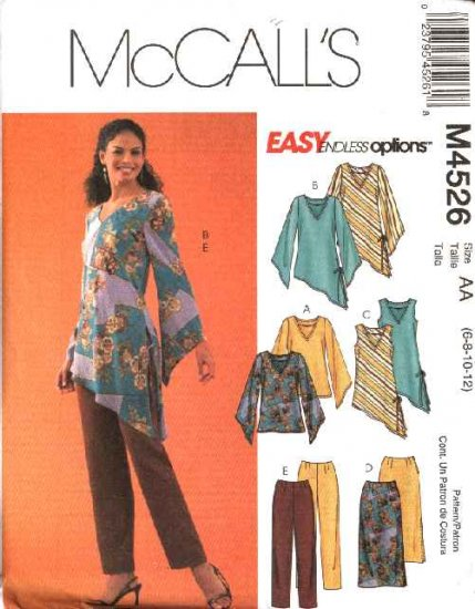 McCall's Sewing Pattern 4526 Misses Size 6-12 Easy Wardrobe Pullover Tops Tunics Skirt Pants