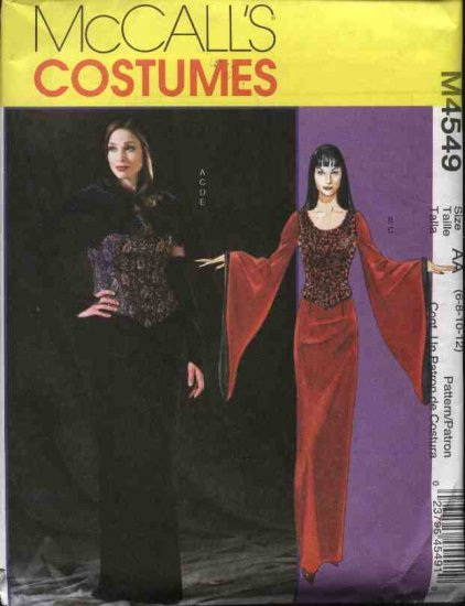 McCall�s Sewing Pattern 4549 Misses Size 10-16 Long Dress Hooded Cape Corset Goth Costume