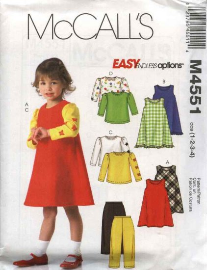 McCall�s Sewing Pattern 4551 Girls Size 1-4 Easy Wardrobe Jumpers Knit Tops Pants