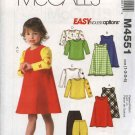 McCall's Sewing Pattern 4551 Girls Size 1-4 Easy Wardrobe Jumpers Knit Tops Pants
