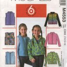 McCall's Sewing Pattern 4553 Girls Size 10-14 Easy Fleece Zipper Front Long Sleeve Jacket Vest