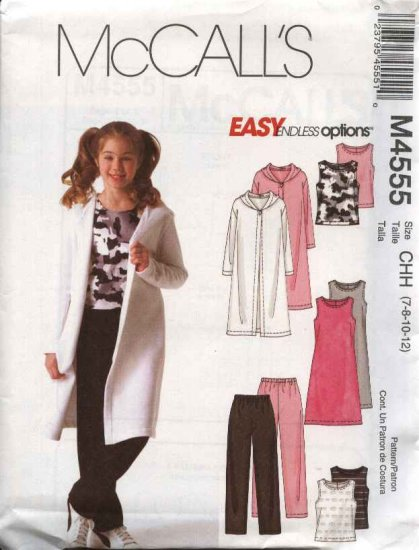 McCall�s Sewing Pattern 4555 Girls Size 7-12 Easy Knit Hooded Sweatercoat Dress Top Pants