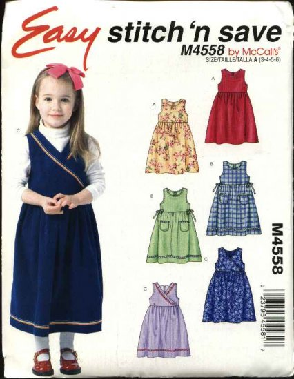 McCall's Sewing Pattern 4558 Girls Size 3-6 Easy Jumpers with Bodice Variations