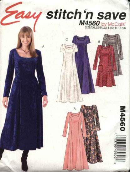 McCall�s Sewing Pattern 4560 Misses Size 12-18 Easy Long Short Sleeve Princess Seam Dresses