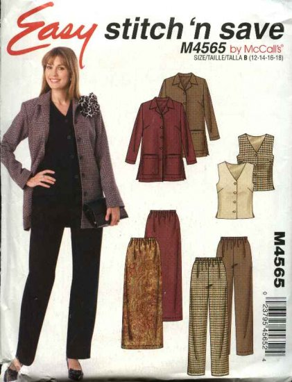 McCall�s Sewing Pattern 4565 Misses Size 12-18 Easy Wardrobe Unlined Jacket Vest Pants Skirt