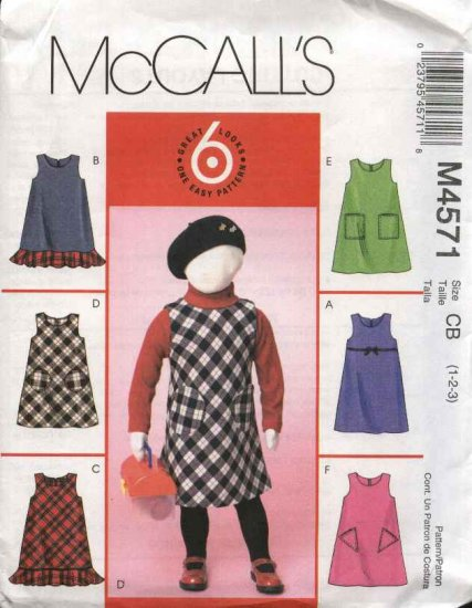McCall�s Sewing Pattern 4571 Girls Size 1-3 Easy Jumper Optional Patch Pockets Hem Ruffle