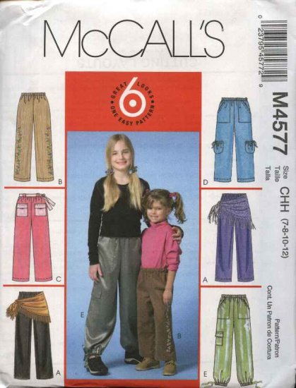 McCall�s Sewing Pattern 4577 Girls Size 7-12 Easy Pull-on Straight Legged Pants Sash Scarf
