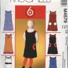 McCall's Sewing Pattern 4579 Girls Size 7-12 Easy Jumper Patch Pocket Trim Variations