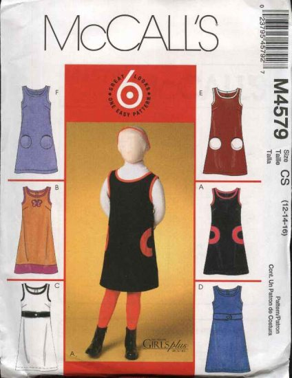 McCall�s Sewing Pattern 4579 Girls Plus Size 10½ - 16½ Easy Jumper Patch Pocket Trim Variations