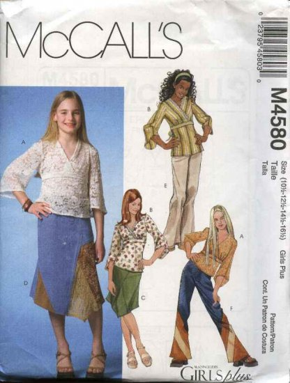 McCall�s Sewing Pattern 4580 M4580 Girls Size 12-16 Pullover Tops Tunics Skirts Pants