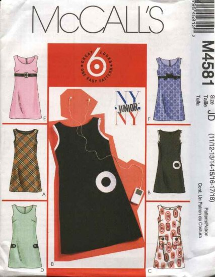 McCall�s Sewing Pattern 4581 Junior Sizes 11/12-17/18 Easy Lined Jumpers Pocket Trim Variations