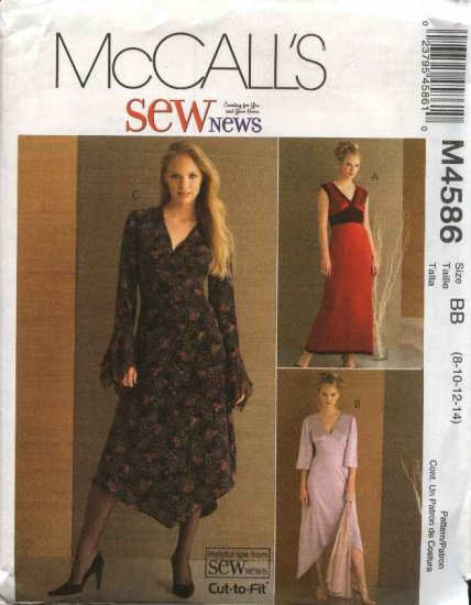 McCall�s Sewing Pattern 4586 Misses Size 8-14 SewNews Empire Waist Dress Hem Sleeve Variation