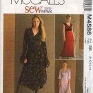 McCall's Sewing Pattern 4586 Misses Size 18-24 SewNews Empire Waist Dress Hem Sleeve Variation