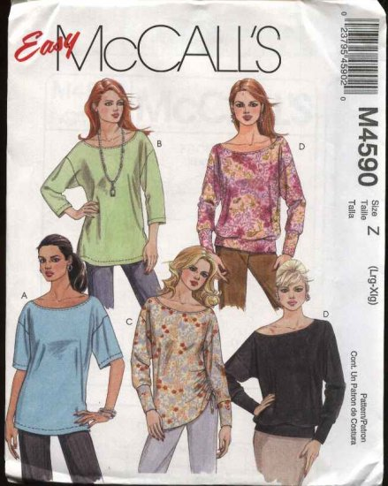 McCall's Sewing Pattern 4590 Misses Size 4-14 Easy Pullover Knit Casual Tops Tunics