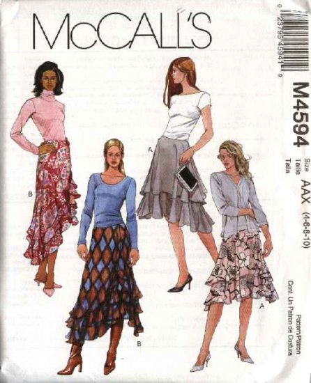 McCall's Sewing Pattern 4594 M4594 Misses Size 4-10 Short Long Tiered Layered Flared Skirts