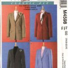 McCall's Sewing Pattern 4598 Misses Size 8-14 Classic Fit Lined Long Sleeve Suit Jackets