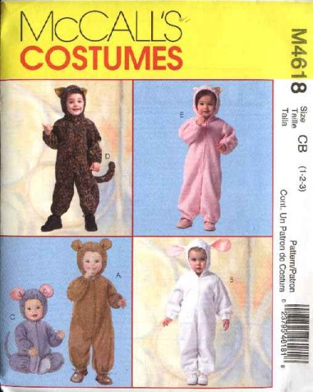 McCall's Sewing Pattern 4618 Boys Girls Size 4-5-6 Jumpsuit Costumes Tiger Bear Kitty Bunny Mouse