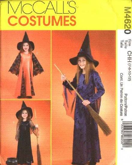 McCall's Sewing Pattern 4620 Girls Size 7-12 Witch Halloween Costumes Dress Pointed Hat