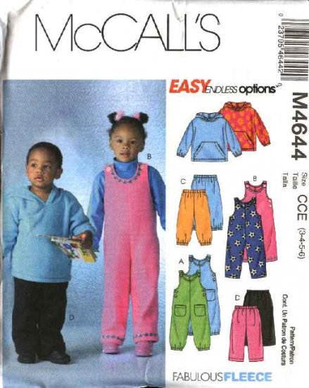 McCall's Sewing Pattern 4644 Boys Girls Size 3-6 Easy Overalls Jumpsuit Top Pants Hooded Jacket