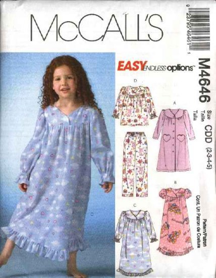 McCall's Sewing Pattern 4646 Girls Size 2-5 Easy Robe Nightgown Pajamas Pullover Top Pants
