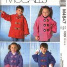 McCall's Sewing Pattern 4647 Girls Boys Size 6-8 Unlined Long Sleeve Hooded Outdoor Jackets Coats