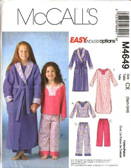 McCall's Sewing Pattern 4649 Girls Size 3-6 Easy Wrap Front Robe Pullover Pajama Top Long Pants