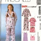 McCall's Sewing Pattern 4650 Girls Size 7-16 Easy Button Front Top Gown Camisole Pants Pajamas