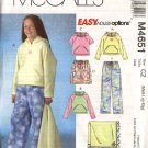 McCall's Sewing Pattern 4651 Girls Plus Size 8½-16½ Hooded Tops Shorts Pants Blanket