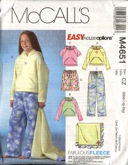 McCall's Sewing Pattern 4651 M4651 Girls Size 7-16 Hooded Tops Shorts Pants Blanket Hoodie