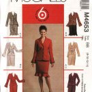 McCall's Sewing Pattern 4653 Miss Size 16-22 Easy Unlined Button Front Jackets Straight Skirts Suit