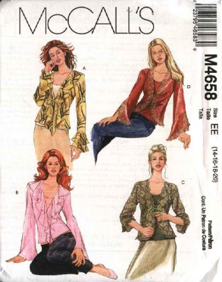 McCall's Sewing Pattern 4658 Misses Size 6-12 Front Tie Jacket Tops Bias Tank Shell Twinset