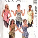 McCall's Sewing Pattern 4659 Misses Size 4-10 Pullover Sleeveless Tops Fabric Flower