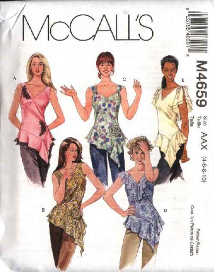 McCall's Sewing Pattern 4659 Misses Size 12-18 Pullover Sleeveless Tops Fabric Flower