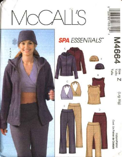 McCall�s Sewing Pattern 4664 Misses Size 16-22 Spa Essentials Hooded  Jacket Halter Tops Pants Hat