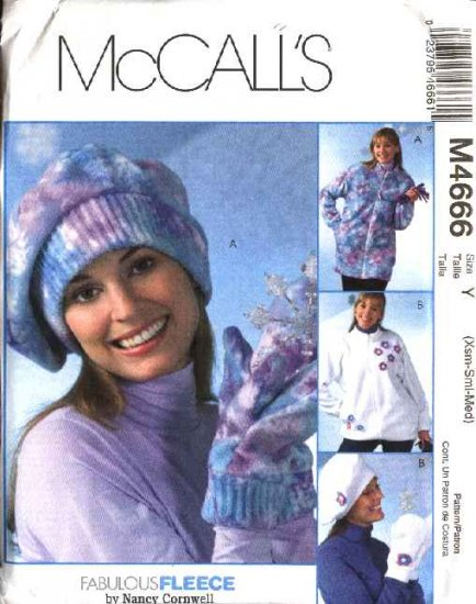McCall's Sewing Pattern 4666 P292 Misses Size 4-14 Zipper Front Fleece Jacket Hats Mittens