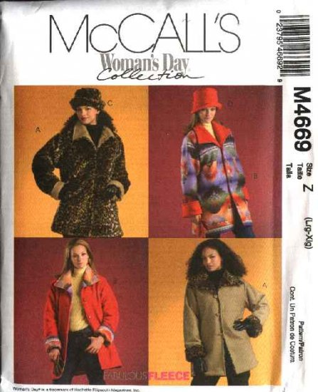 McCall's Sewing Pattern 4669 Misses Size 16-22 Reversible Button Front Jackets Hats